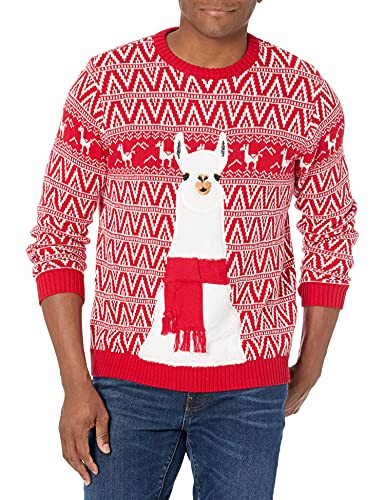 Blizzard Bay Mens Ugly Christmas Sweater Llama, Red, Large