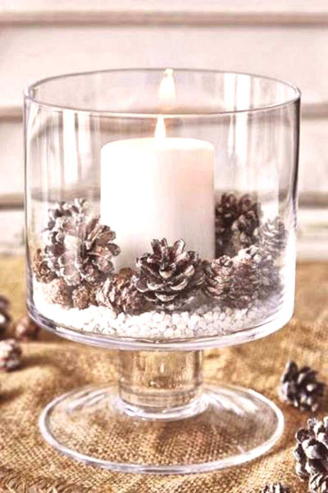 Candle In Glass Christmas Centerpiece