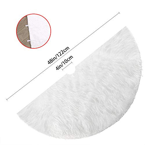CCINEE Christmas Tree Skirt Plush with 48 Inche Large White