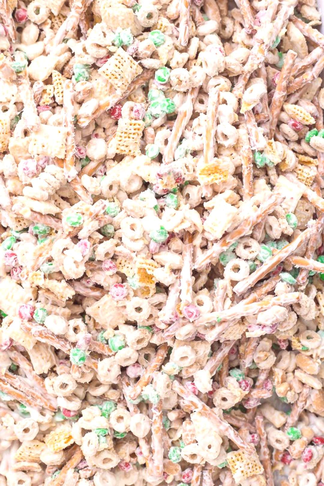 Christmas Crack Chex Mix is a family-favorite filled with Chex mix, cheerios, salted peanuts, M&M's