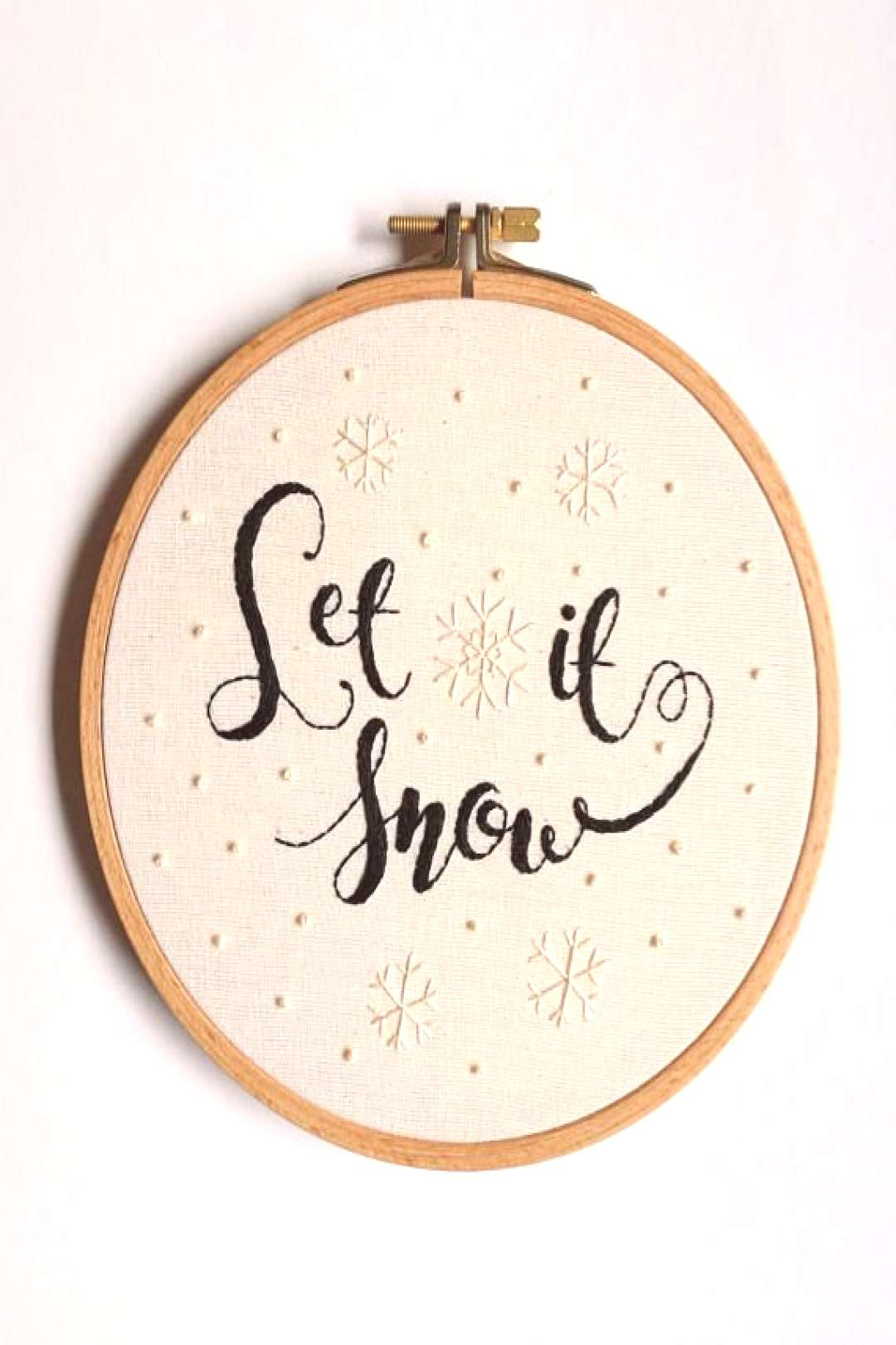 Christmas Decoration Let it Snow Modern Embroidery Hoop Art