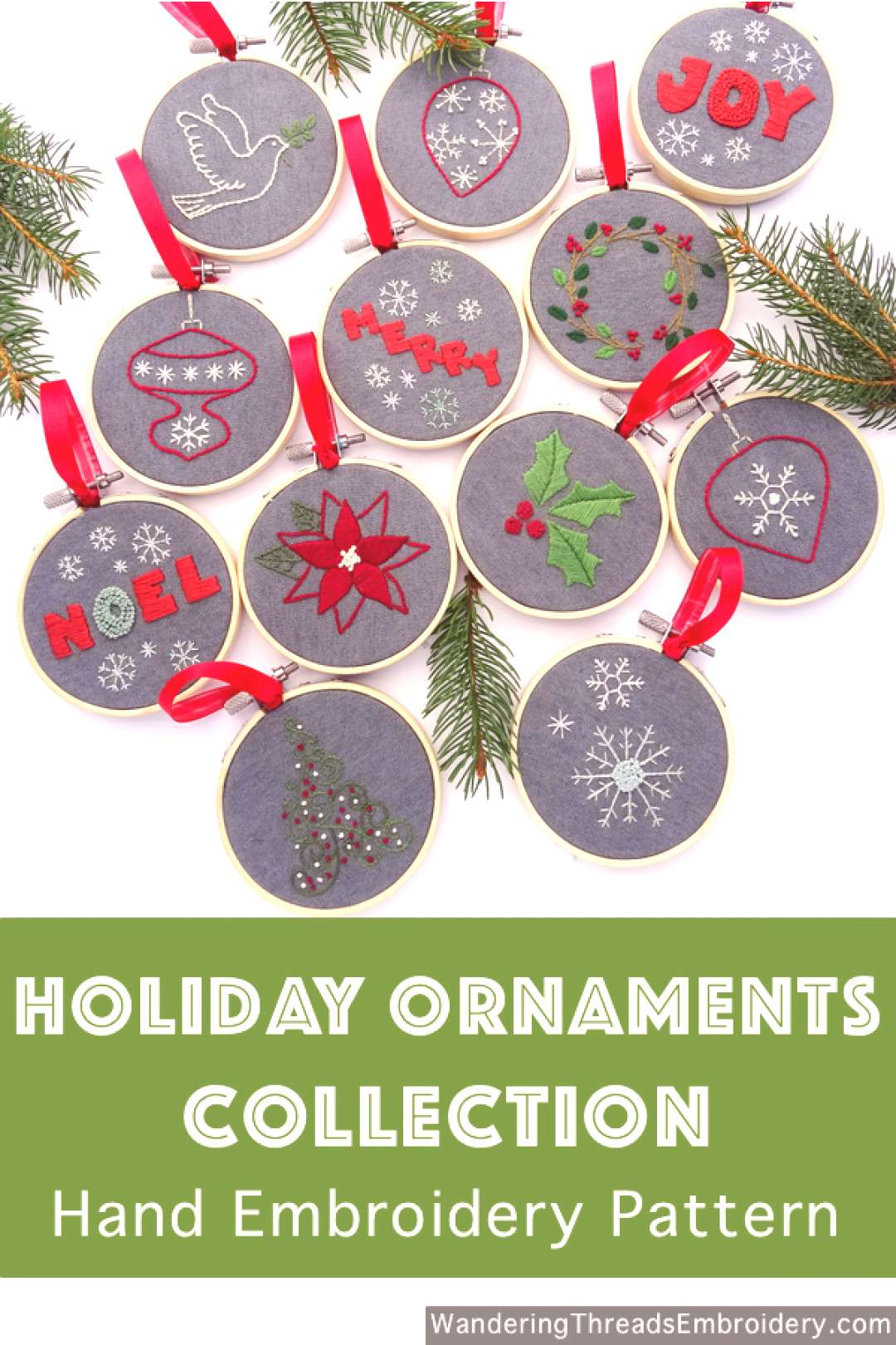 Christmas Ornament Collection Hand Embroidery Pattern - Wandering Threads Embroidery
