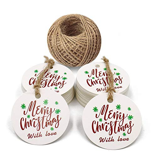 Christmas Tags,Merry Christmas with Love Tags,100PCS Round
