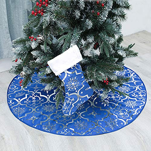 Christmas Tree Skirt, 48 inches Large Red Flannel Tree Mat