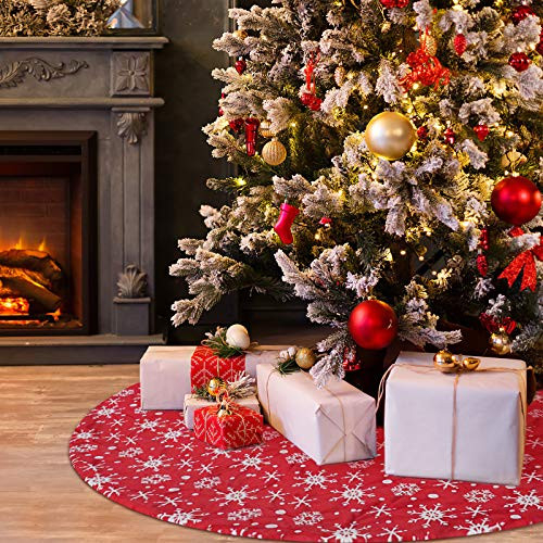 COOLWUFAN 48 Inches Christmas Tree Skirt, Red and White Snow