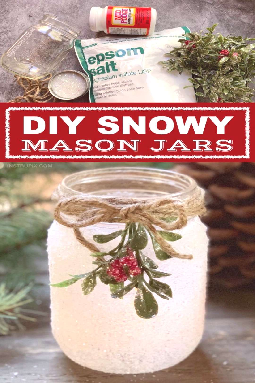 DIY Christmas Candle Holder Idea Snowy Mason Jars -- If you are looking for fun and easy Christmas