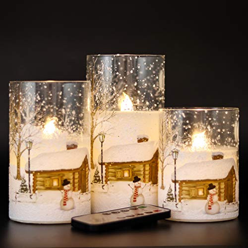 DRomance White Christmas Glass Flickering Flameless Candles
