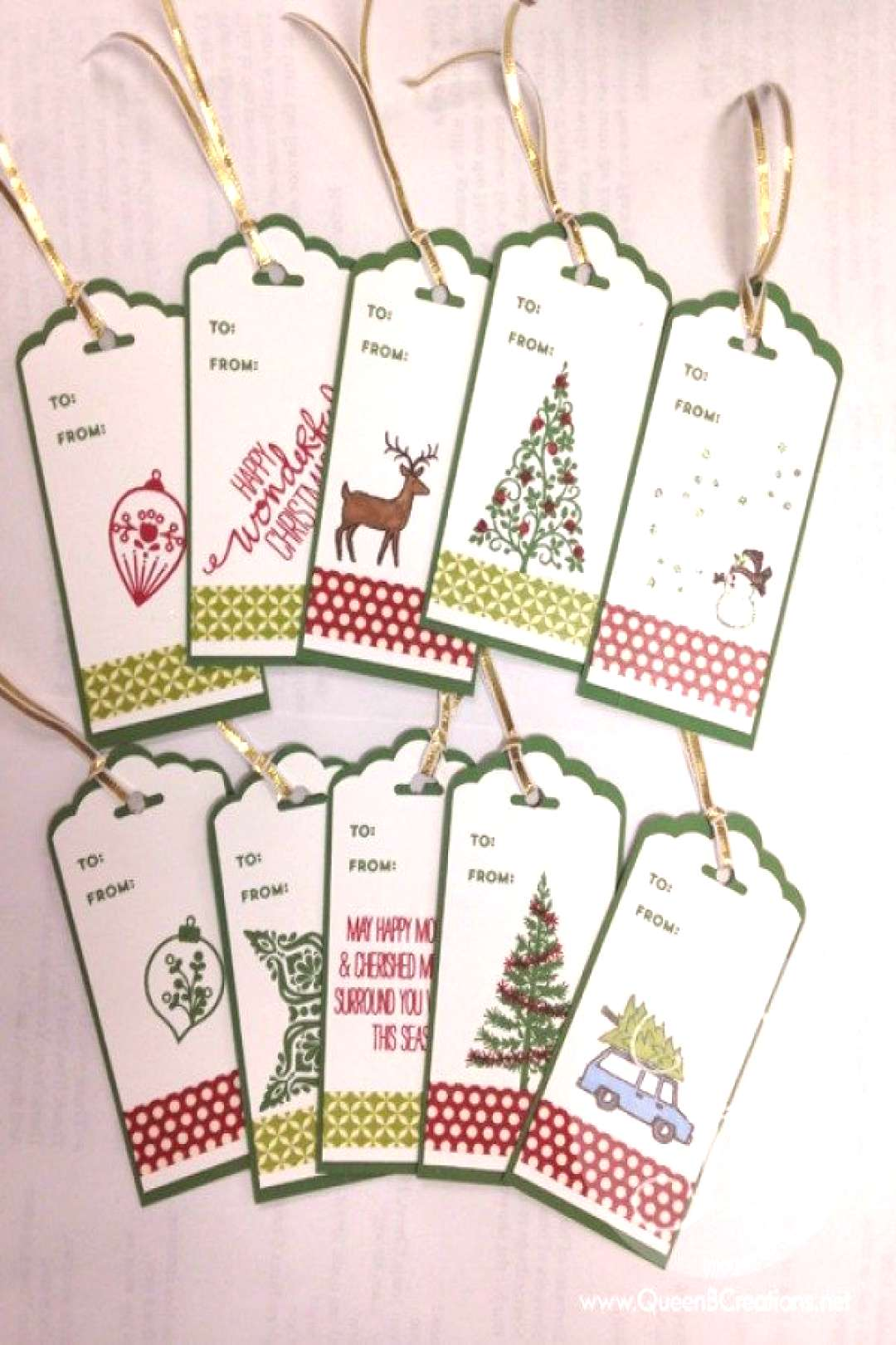 eight extra Stamped Christmas Present Tags -