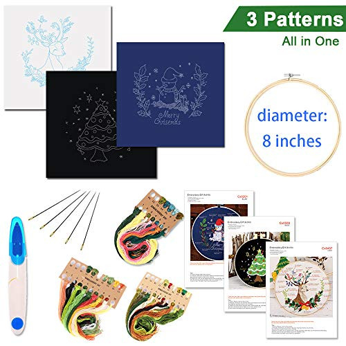 Embroidery Starter Kit with Pattern and Instructions, 3 Sets