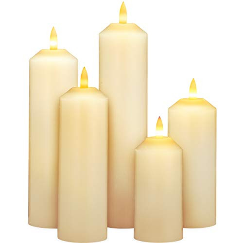 Flameless Candles with Timer, Pillar Candles, Battery
