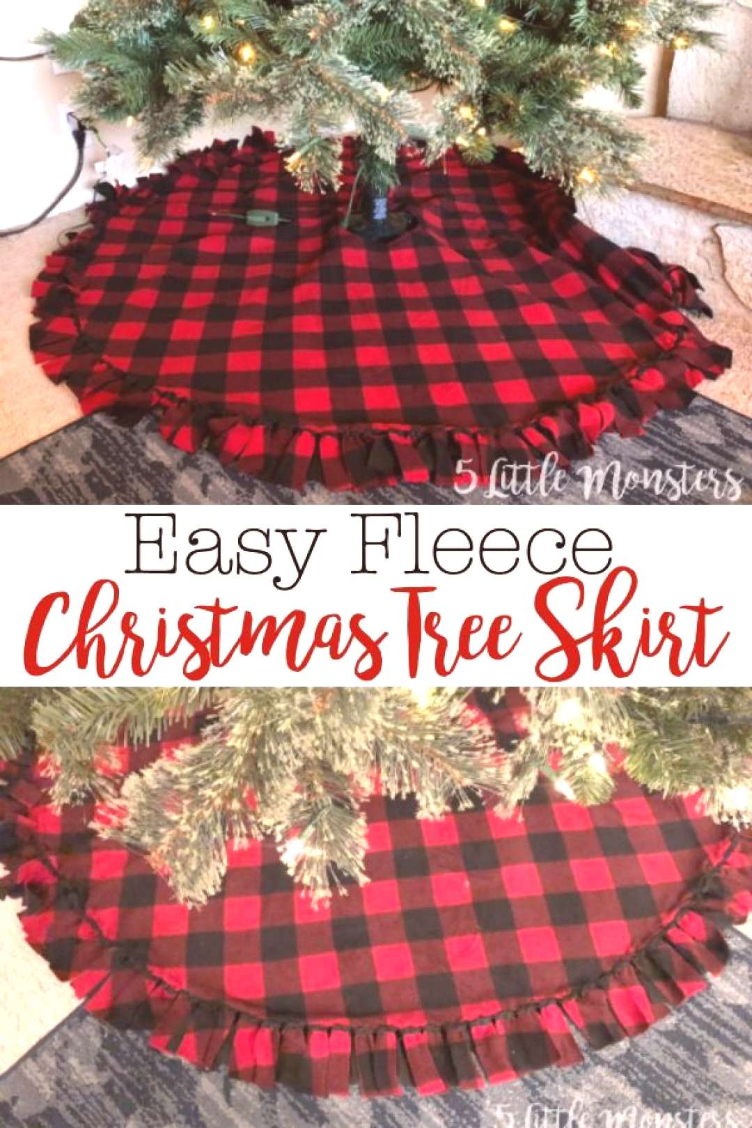Fleece Christmas tree skirt made with 2 layers of fleece tied around the edge with a velcro closure