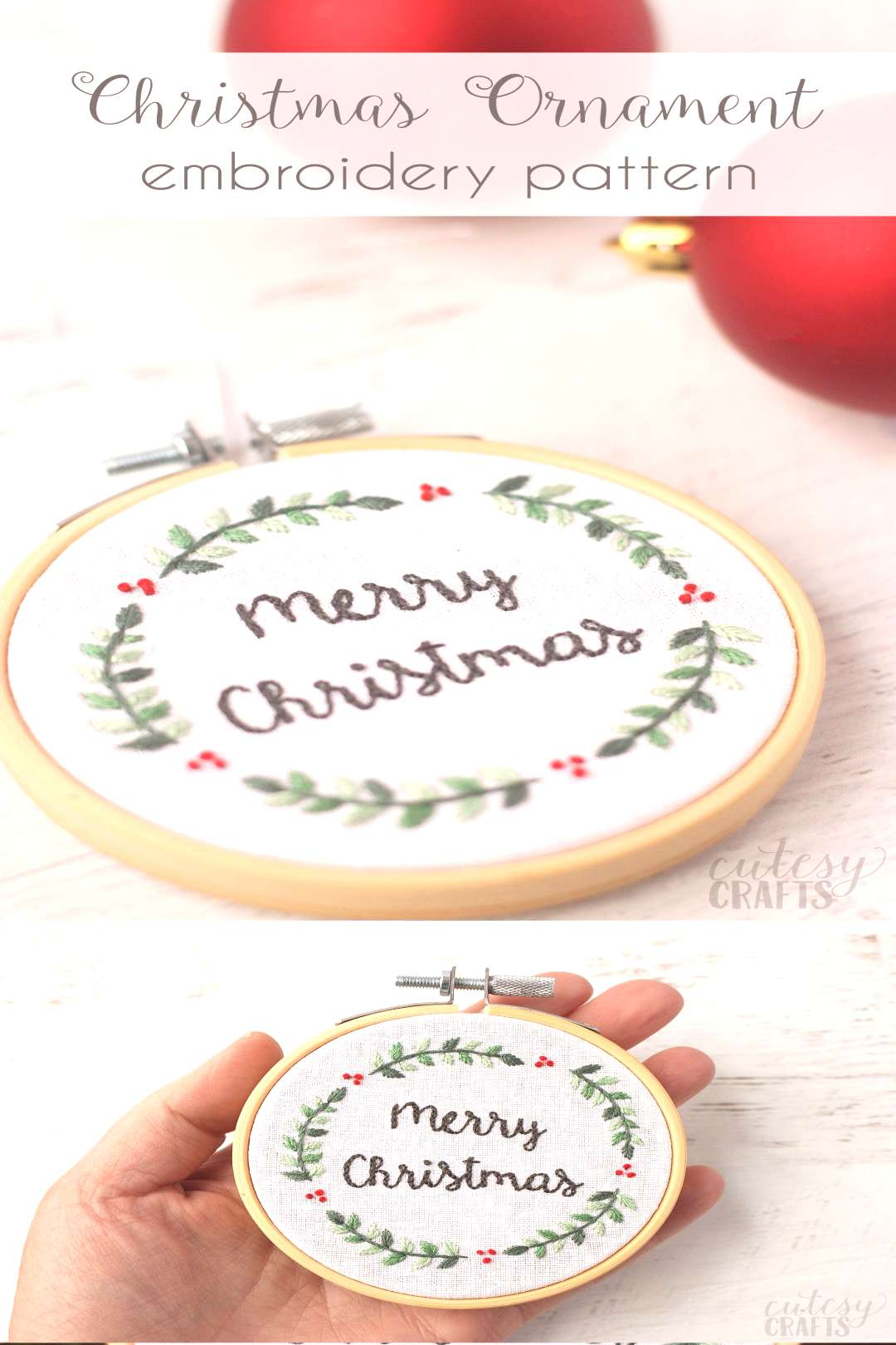 Free Christmas Embroidery Pattern. Make a cute embroidery hoop Christmas ornament!