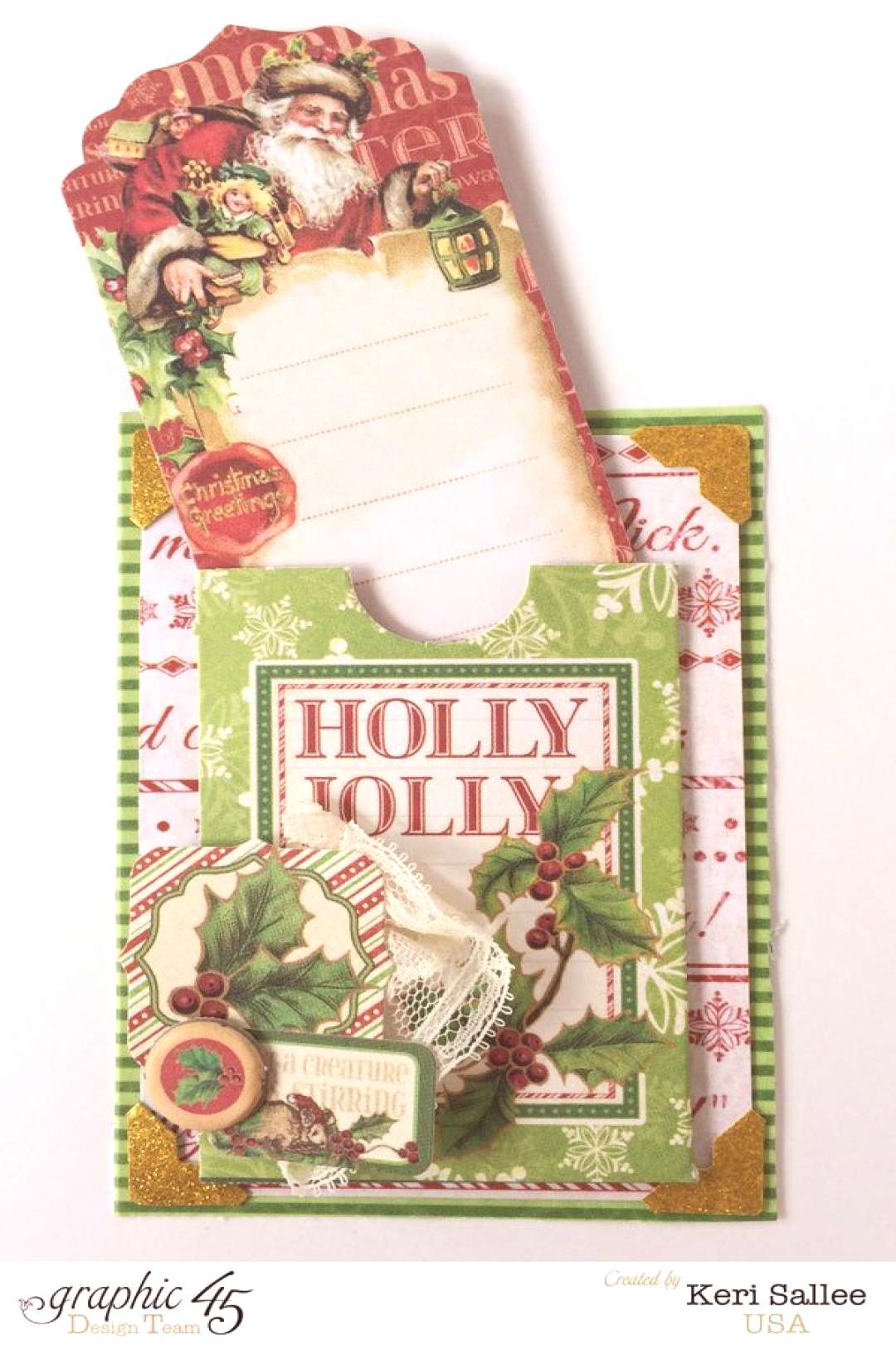 Graphic45 Night Before Christmas Gift Tag amp Holder