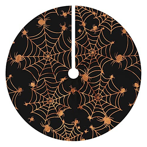 Halloween 36 Inches Tree Skirt with Spider Net,Christmas