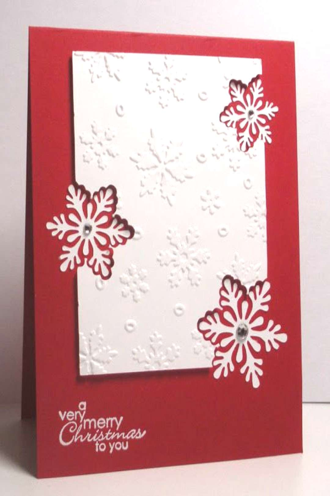 handmade Christmas card from Think Outside the Box: Snowy Christmas Greetings ... panel with emboss