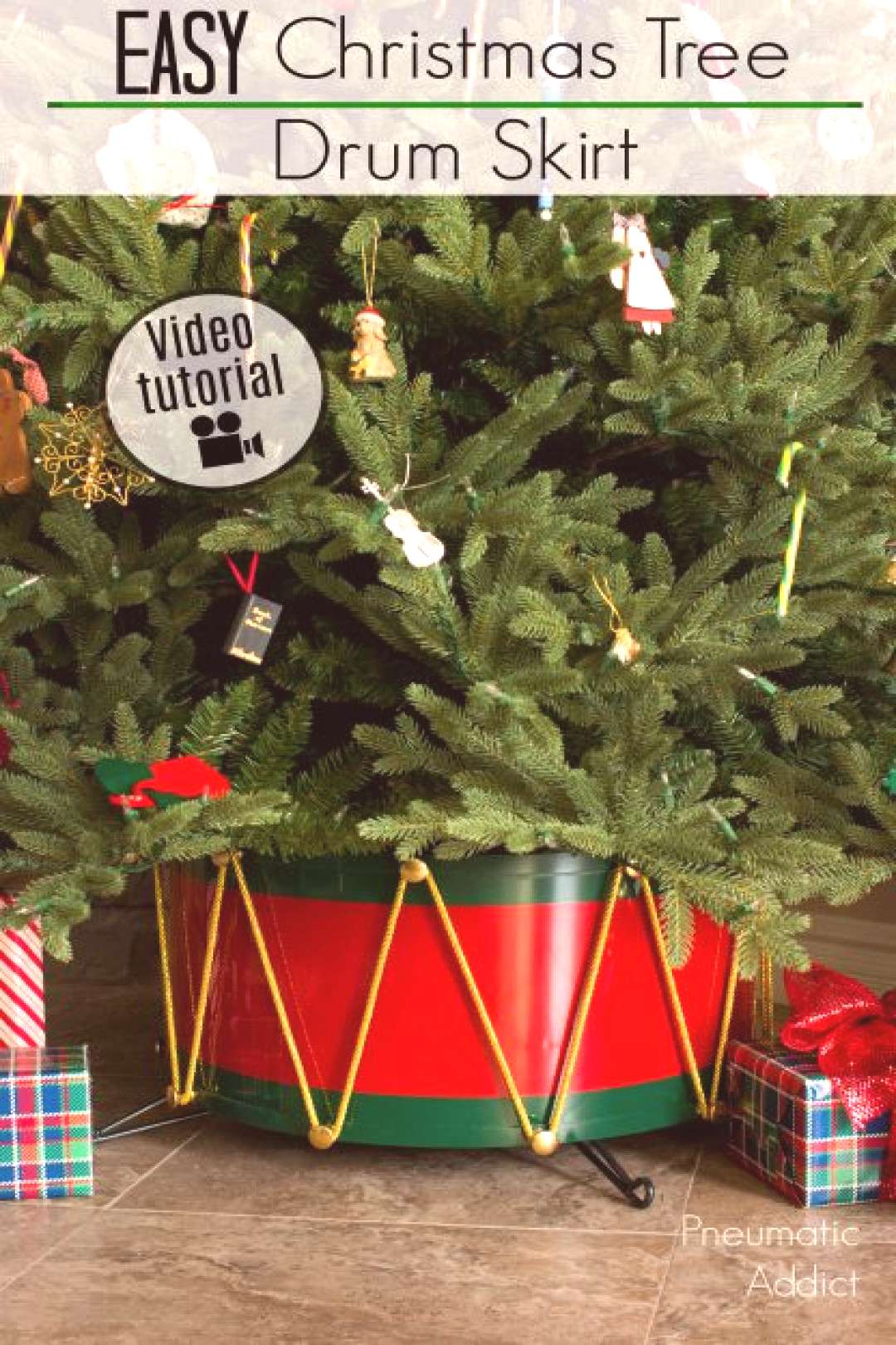 How to make a metal Christmas tree skirt that looks just like a solider's drum! Easy to follow vide