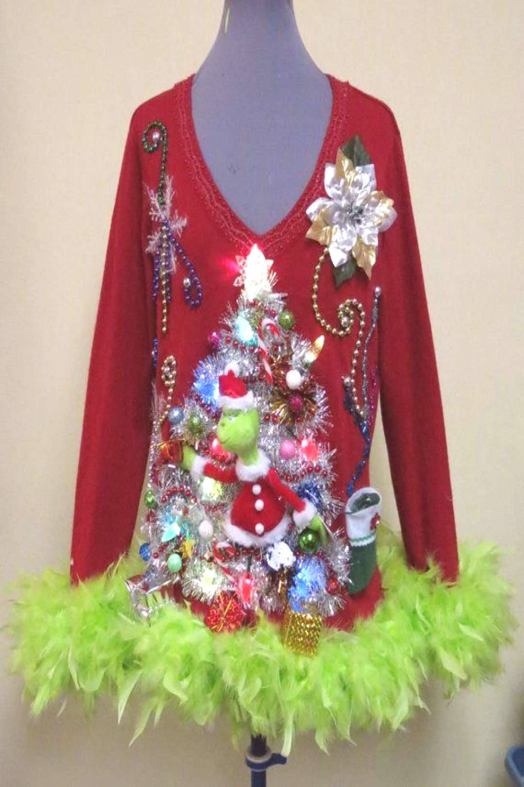 Hysterical Double sided Tacky Ugly Christmas Sweater Light Up,  Festive Fun, Womens P Large  feathe