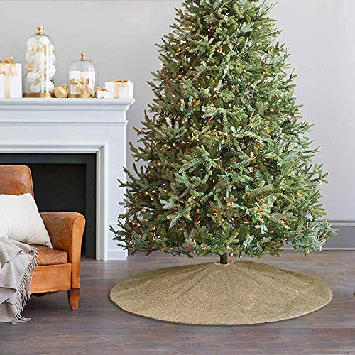 Ivenf Christmas Tree Skirt, 48 inches Large Burlap