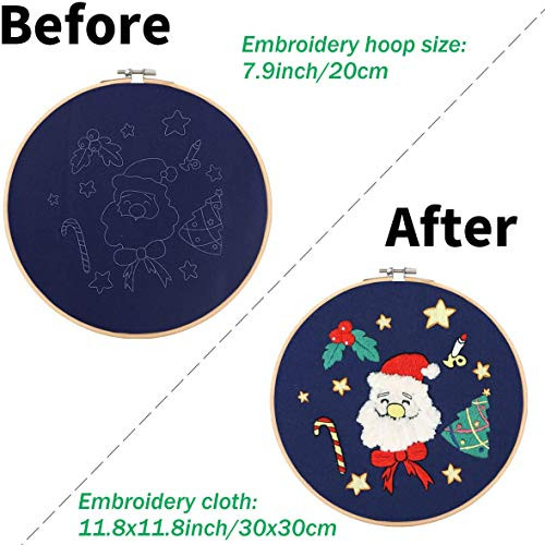 Liyahog 3 Pack Embroidery Starter Kit with Christmas Tree