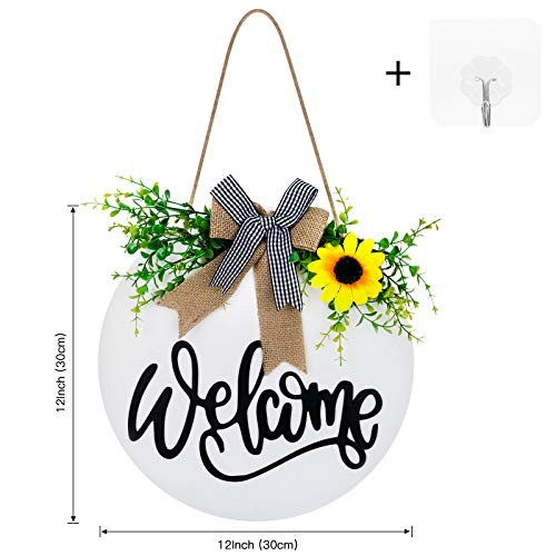 LOLOST Welcome Sign for front door,Spring Wreath with