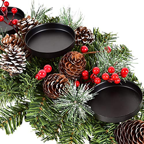 Lvydec Christmas Candle Holder Centerpiece - Pine Cones and