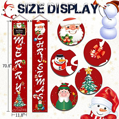 Merry Christmas Porch Sign Decorations Red Xmas Front Door