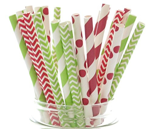 Merry Christmas Straws (25 pack) - Holiday Favors, Cake Pop