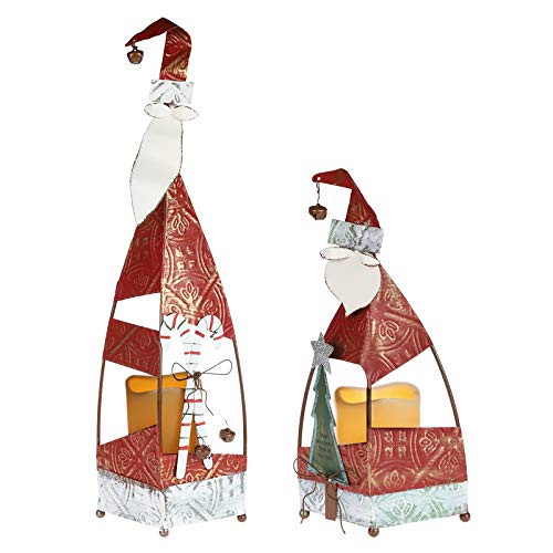 MorTime 2 Pack Christmas Candle Lantern with LED Lights,
