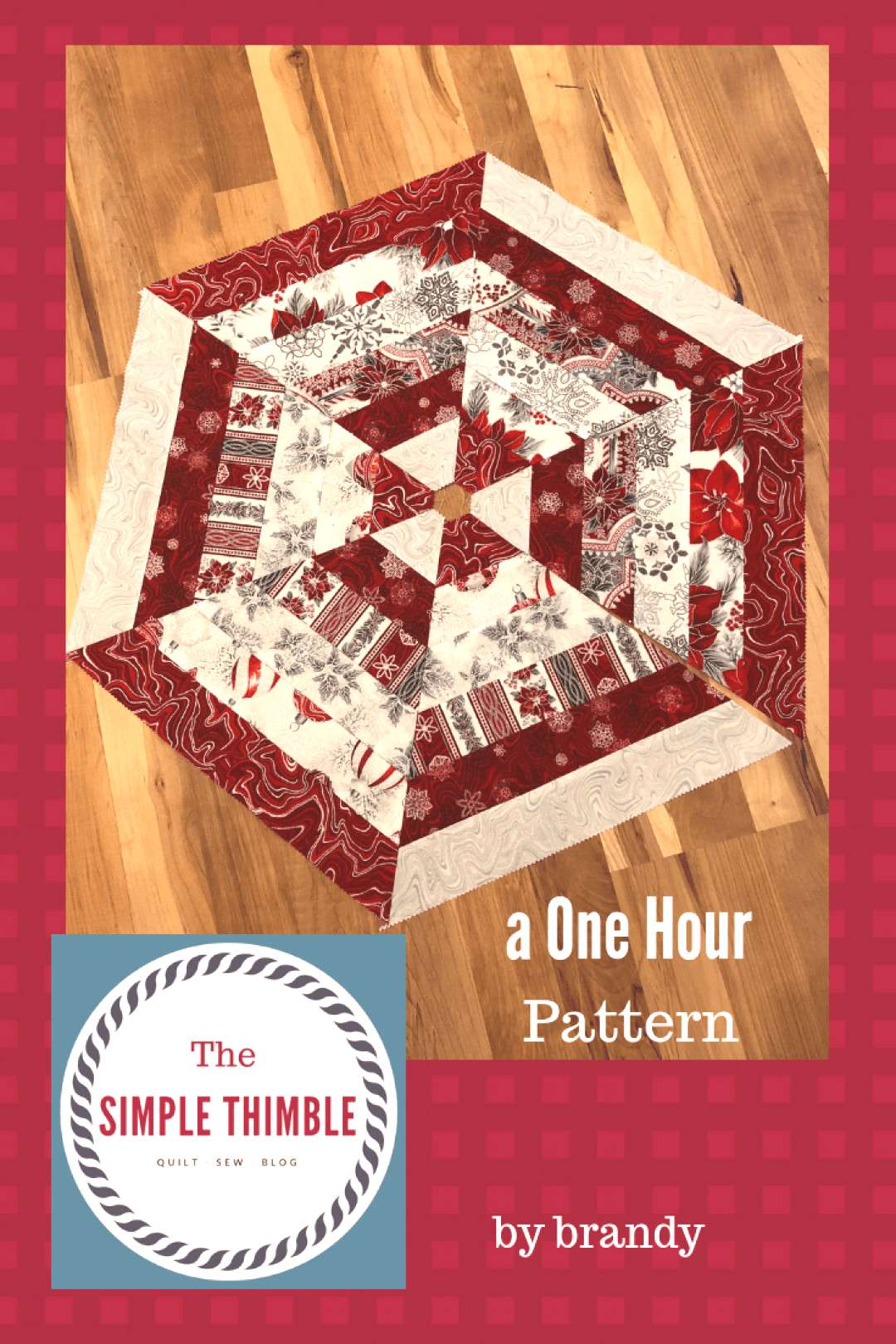 One Hour Pattern – The Simple Thimble.  Free pattern for a Christmas Tree Skirt. Holiday sewing,