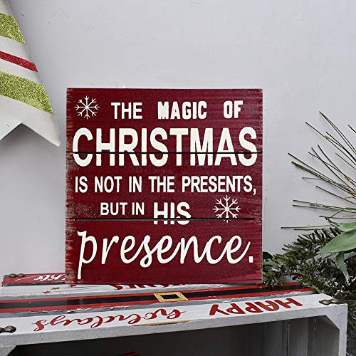 Rustic Christmas Sign Decor Wood Plaque Hanging Wall Art