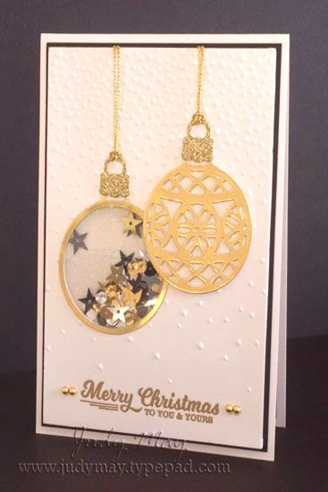 Stampin' Up! Shaker Card using 'Embellished Ornaments' & 'Delicate Ornaments' Thinlits. Judy May, J