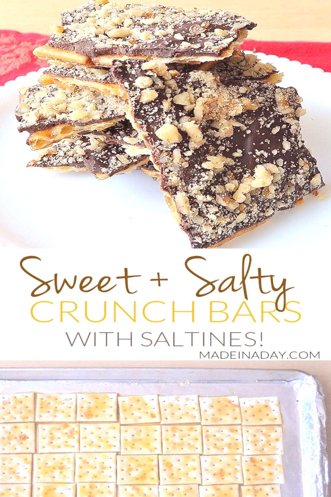 Sweet and Salty Chocolate Crunch Bars, Super easy sweet treat made from saltines! cracker Crack: Sa