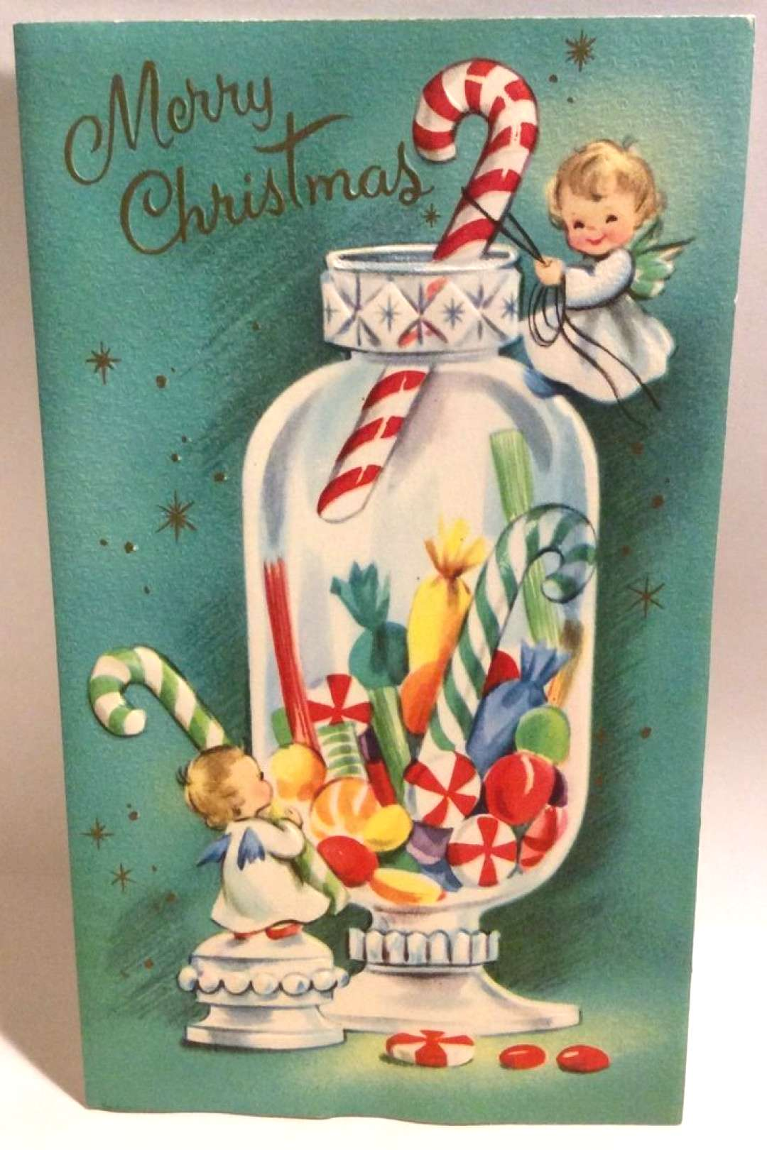 Two Sweet Angels Candy Apothecary Jar 1950s Vintage ... christmas greeting cards christmas greeti