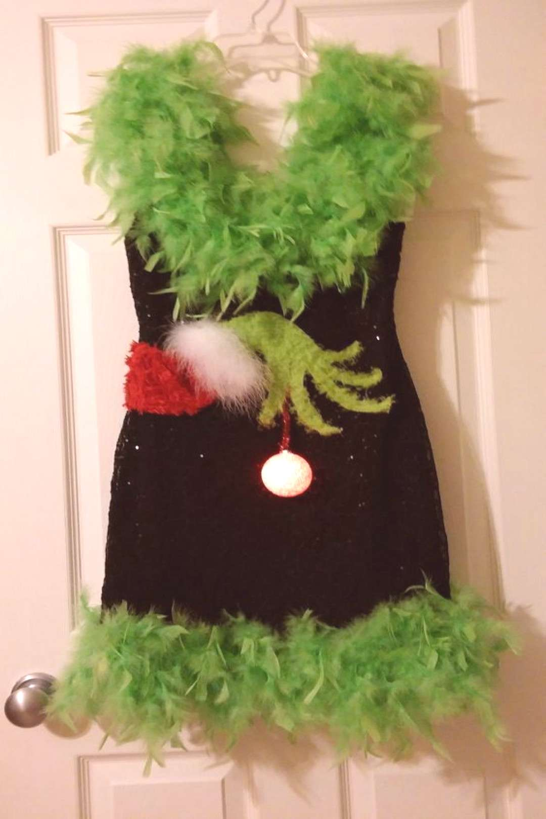Ugly Christmas Sweater Sequin LED Light S Boa Sexy Dress Feather Low Back  | eBay The Naughty ELF h