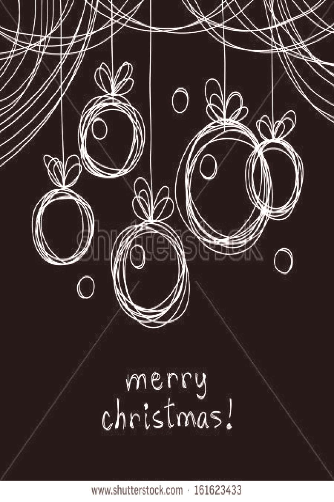 Vector Christmas doodle background. Christmas balls in hand drawn childish sketch style. Invitation