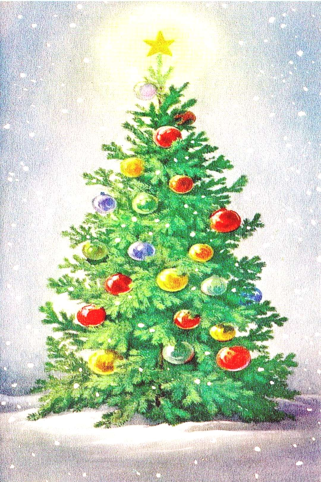 Vintage Christmas Tree in the Snow Greeting Card