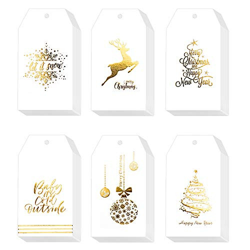 Whaline 120 Pcs Christmas Gold Foil Paper Gift Tags Holiday