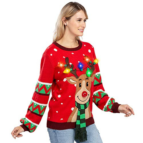 Womens LED Light Up Reindeer Ugly Christmas Sweater Built-in